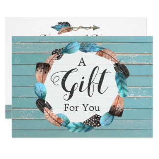 Gift Certificate Rustic Turquoise Wood & Feathers Card