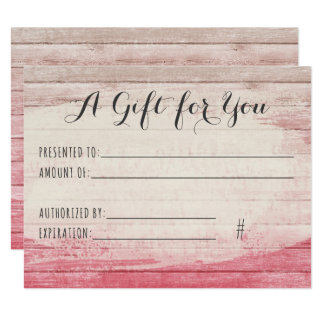 Gift Certificate Rustic Wood Blush Pink Shabby Card