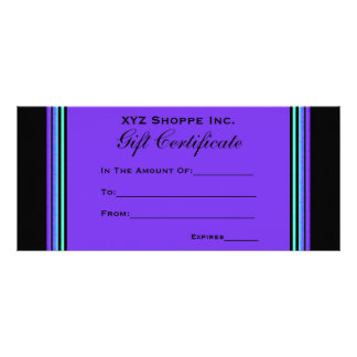 Gift Certificate turquoise purple Custom Rack Cards
