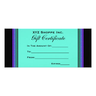 Gift Certificate turquoise purple Rack Card