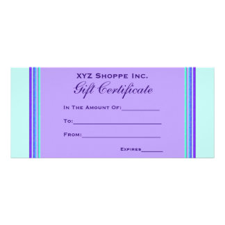 Gift Certificate turquoise purple Full Color Rack Card
