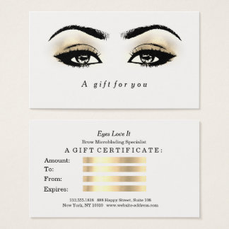 Gift Certificate White Glitter Gold Lashes Makeup1
