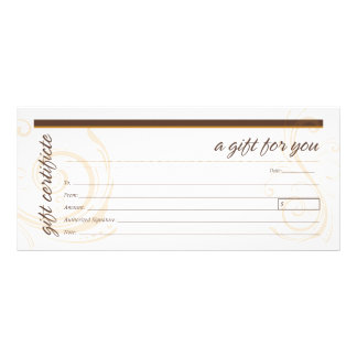 Gift Certificate with Modern Swirl Motif Full Colour Rack Card