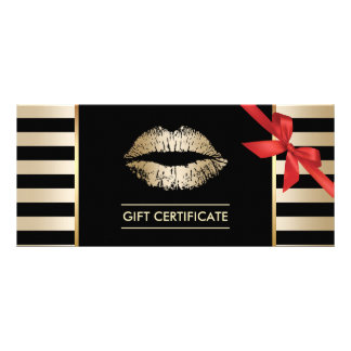 Gift Certificates   Gold Lips Modern Stripes Salon Rack Cards