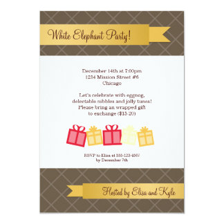 """Gift exchange gold ribbon brown Christmas party 5"""" X 7"""" Invitation Card"""
