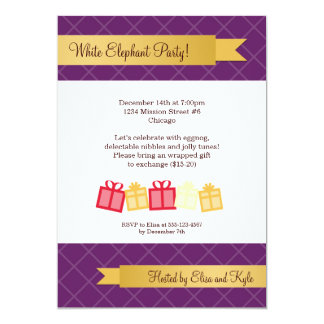 """Gift exchange gold ribbon purple Christmas party 5"""" X 7"""" Invitation Card"""