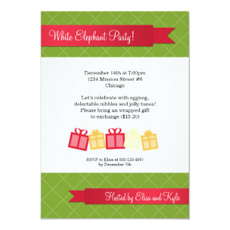 """Gift exchange red ribbon green Christmas party 5"""" X 7"""" Invitation Card"""