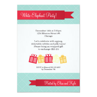"""Gift exchange red ribbon ice blue Christmas party 5"""" X 7"""" Invitation Card"""