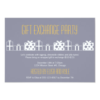 """Gift exchange Yankee swap Christmas party 5"""" X 7"""" Invitation Card"""