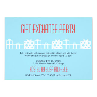 """Gift exchange Yankee swap red blue Christmas party 5"""" X 7"""" Invitation Card"""