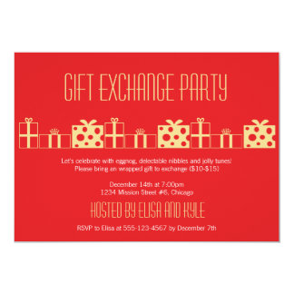 Gift exchange Yankee swap red gold Christmas party Custom Announcement