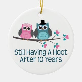 Gift For 10th Wedding Anniversary Hoot Ceramic Ornament