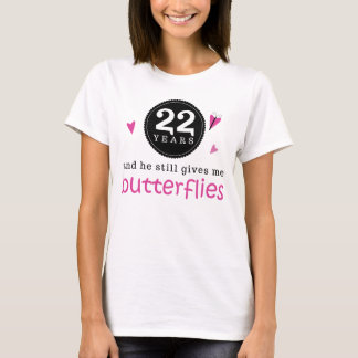 Gift For 22nd Wedding Anniversary Butterfly T-Shirt