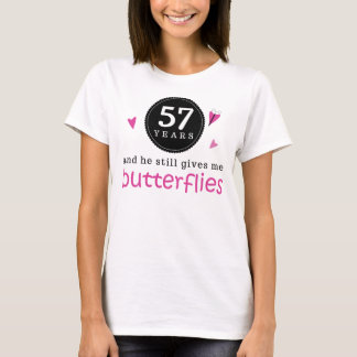Gift For 57th Wedding Anniversary Butterfly T-Shirt