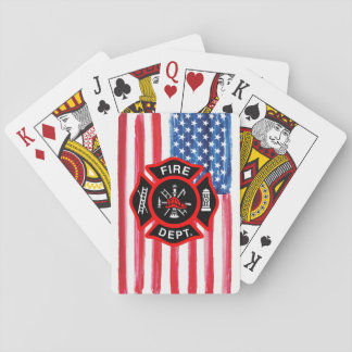 Gift for Firefighters American Flag Maltese Cross Playing Cards