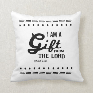 Gift from the Lord, Black Font Throw Pillow