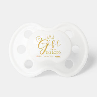 Gift from the Lord, Gold Font Baby Pacifier
