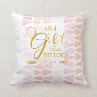Gift from the Lord, Gold Font, Pink Watercolor Throw Pillow