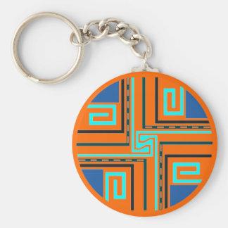 Gift ~ Greek Key Keychain in blues black & Orange