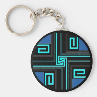 Gift ~ Greek Key Keychain in blues Teal & black