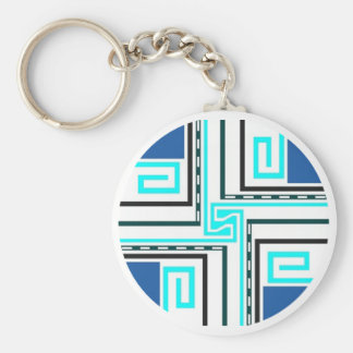 Gift ~ Greek Key Keychain in blues teals black &W