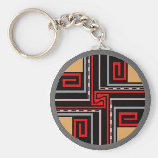 Gift ~ Greek Key Keychain in Red Black Gray