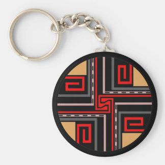 Gift ~ Greek Key Keychain in Red Black Tan +
