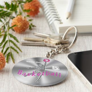 Gift ideas for Basketball Players NAME and NUMBER Keychain