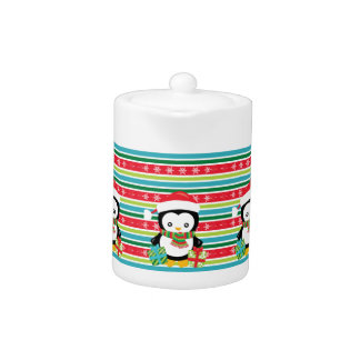 Gift Penguin on striped snowflake background