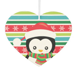 Gift Penguin on striped snowflake background Air Freshener