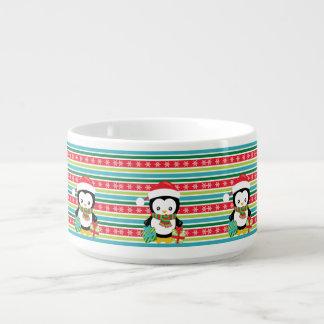 Gift Penguin on striped snowflake background Bowl