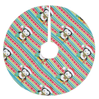 Gift Penguin on striped snowflake background Brushed Polyester Tree Skirt
