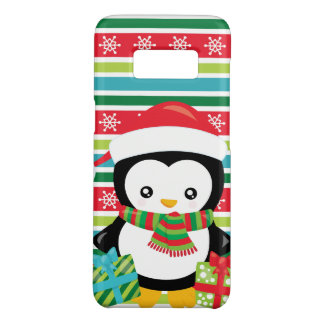 Gift Penguin on striped snowflake background Case-Mate Samsung Galaxy S8 Case