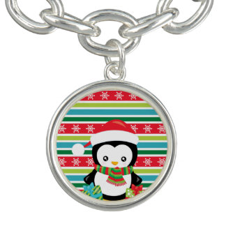 Gift Penguin on striped snowflake background Charm Bracelets
