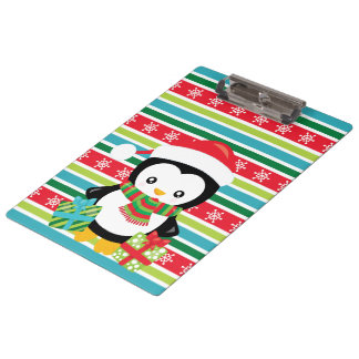 Gift Penguin on striped snowflake background Clipboard