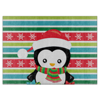Gift Penguin on striped snowflake background Cutting Board