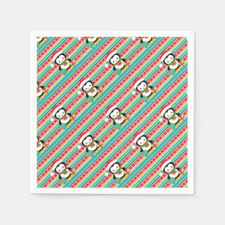 Gift Penguin on striped snowflake background Disposable Napkins