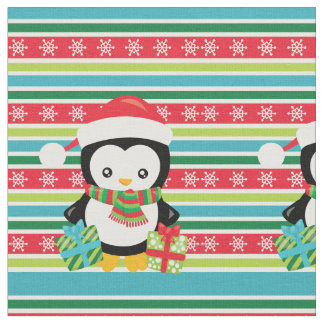 Gift Penguin on striped snowflake background Fabric