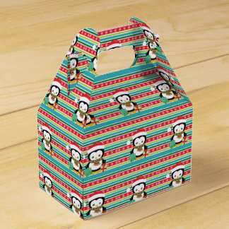 Gift Penguin on striped snowflake background Favor Box
