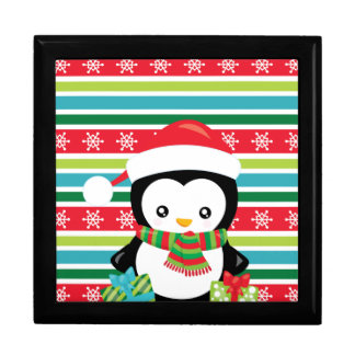 Gift Penguin on striped snowflake background Gift Box