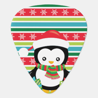 Gift Penguin on striped snowflake background Guitar Pick