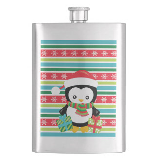 Gift Penguin on striped snowflake background Hip Flask