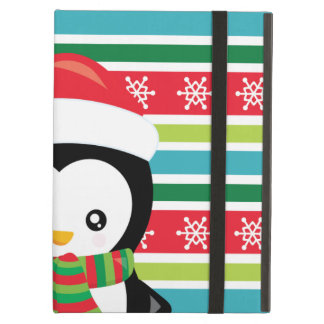 Gift Penguin on striped snowflake background iPad Air Cover