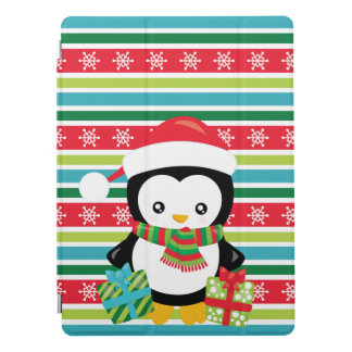 Gift Penguin on striped snowflake background iPad Pro Cover