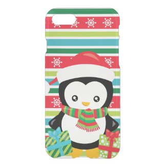 Gift Penguin on striped snowflake background iPhone 8/7 Case