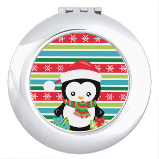 Gift Penguin on striped snowflake background Makeup Mirrors