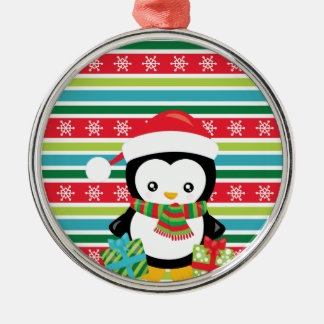 Gift Penguin on striped snowflake background Metal Ornament