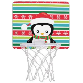 Gift Penguin on striped snowflake background Mini Basketball Hoop