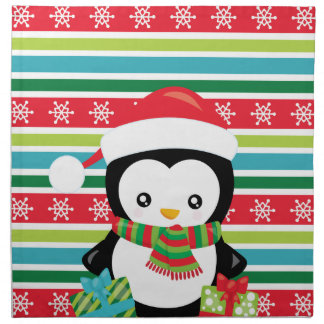 Gift Penguin on striped snowflake background Napkin