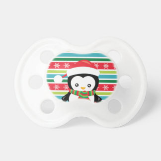 Gift Penguin on striped snowflake background Pacifier